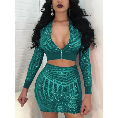 Glitter Sequins Zipper Up Crop Top And Skirt Set