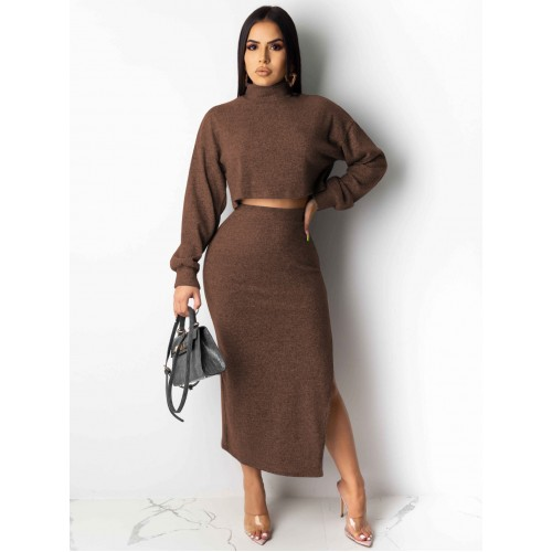 Mock Neck Solid Split Crop Top And Skirt Set