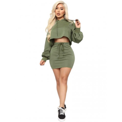 Drawstring Solid Hooded Crop Top And Skirt Set