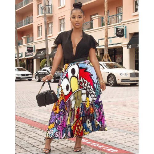Euro High Waisted Printed Pleated Maxi Skirt