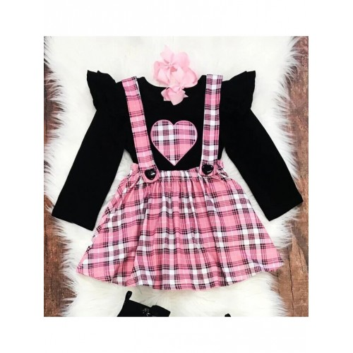 Puff Sleeve Tee With Pink Plaid Suspender Skirt For Girl