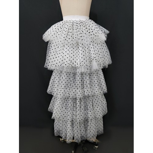 Organza Irregular Hem Dot Ruffled Skirt