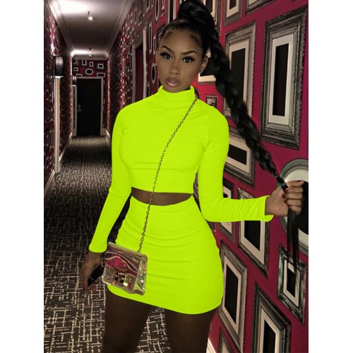 Mock Neck Pure Color Spring Crop Top And Skirt Set