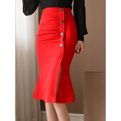 Chic Button Up Red High Waisted Skirt Skirt