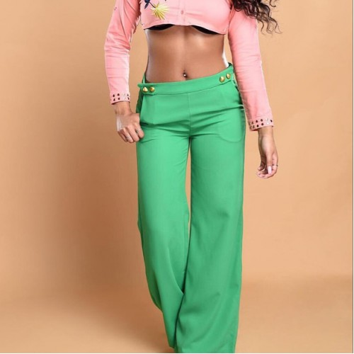 European Style Buttoned Chic Flare Trousers for Woman(3-4 Days Delivery)