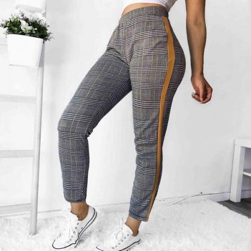Euro Hot Sale Colorblock Plaid Casual Trousers