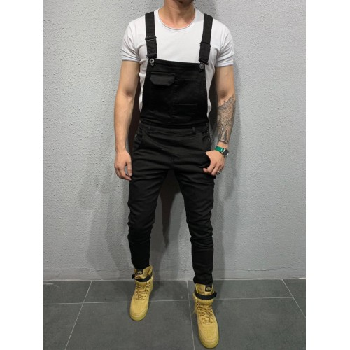 Simple Solid Pockets Male Suspender聽Trousers聽