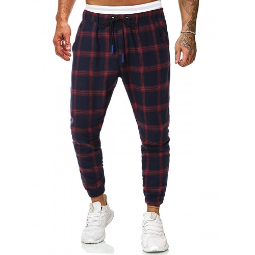 New Style Plaid Leisure Drawstring Men Trousers