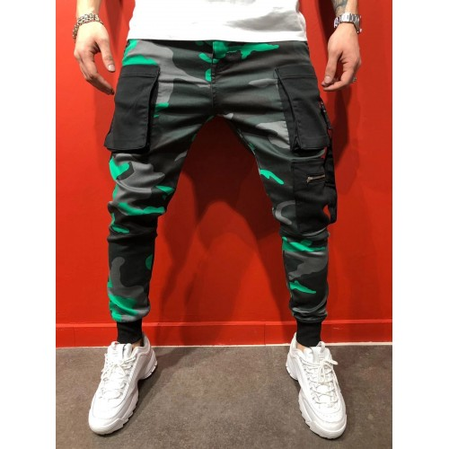 Hip-Hop聽Camouflage Pockets Sporty Trousers