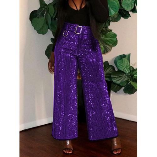Glitter High Waist Wide Leg Trousers