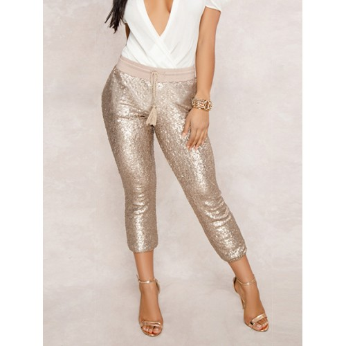 Glitter Sequins Solid Women Cropped Trousers