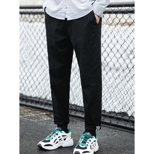 Simple Style Black Trousers For Men