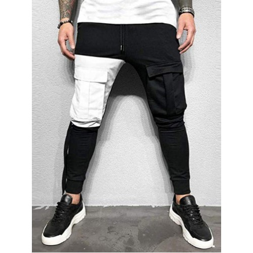 Chic Patchwork Pockets Trousers For Men