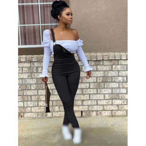 Simple Style Black Women Skinny Suspender Trousers