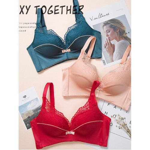 Lace Panel Thickening Cup Wire Free Push Up Bra