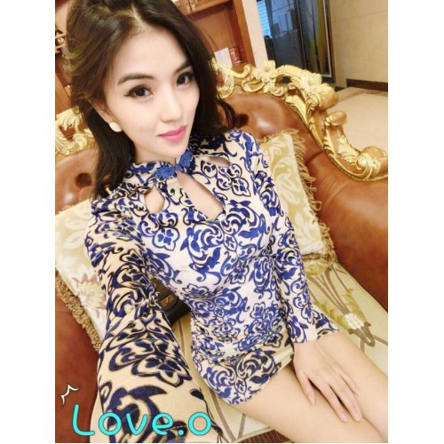 High-end Hollow-out Vintage Blue and White Porcelain Golden Stamp Dress Fitted Mandarin Collar Graceful Blue Dress