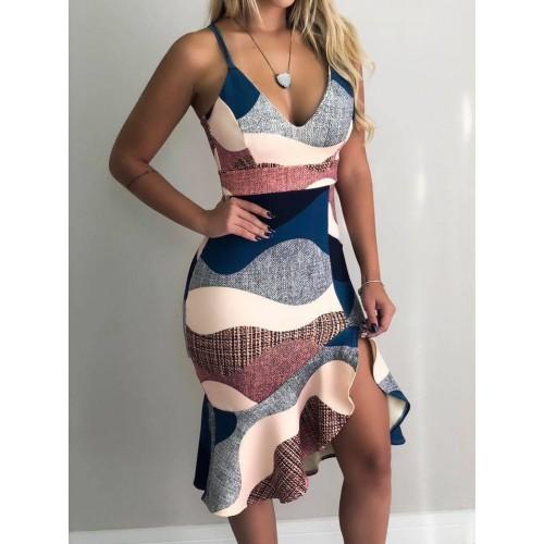 Color Block Low-cut Ruffled Strap Dress