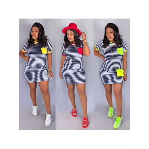 Contrast Color Striped Short Sleeve T-Shirt Dress