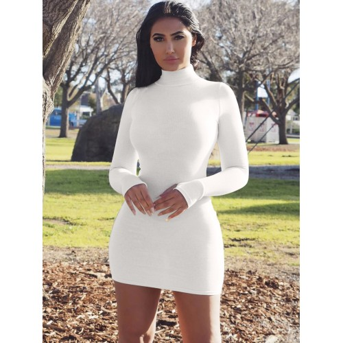 Casual Style High Neck Long Sleeve Bodycon Dress