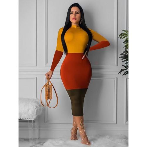 Mock Neck Contrast Color Bodycon Dress