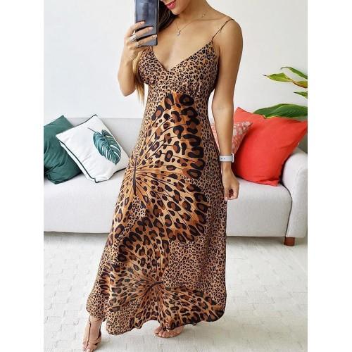 Leopard Butterfly Print Sleeveless Maxi Dress