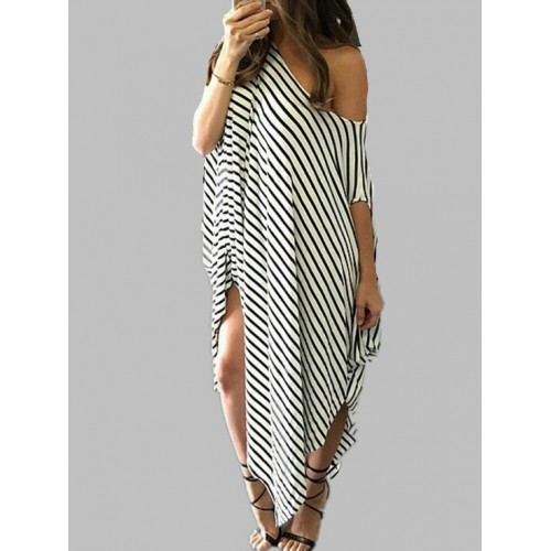 Casual Loose Short Sleeve Striped Maxi Dress