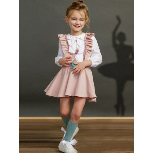 Binding Bow Tee With Pink Ruffles Suspender Skirt