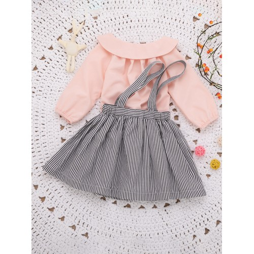 Doll Collar Top With Striped Suspender Dress For Girls