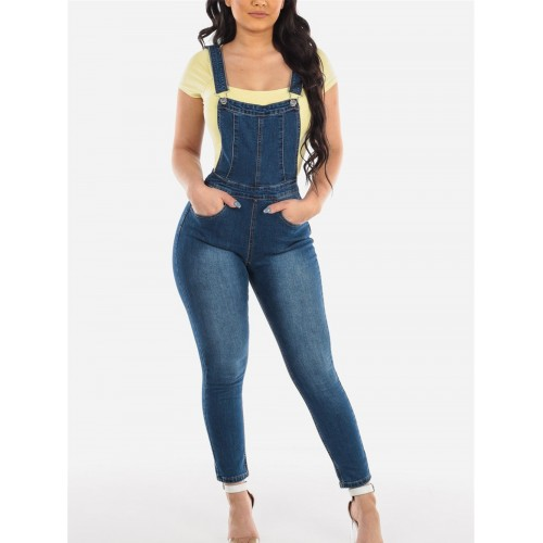 Hot Sale Fitted Ladies Denim Suspender聽Trousers