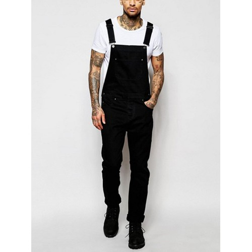 Leisure Straight Solid Suspender Denim Jeans