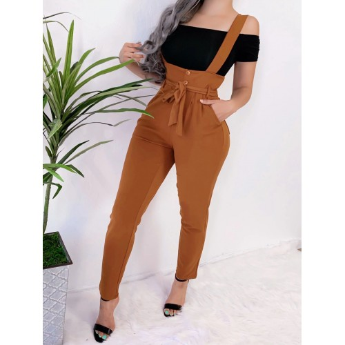 Leisure Lace Up Solid Slim Suspender Pants