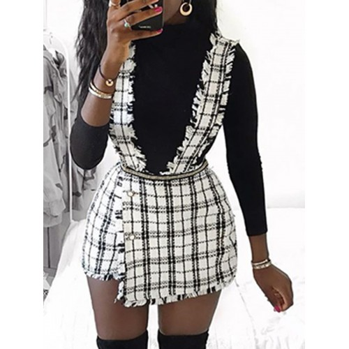 Chic Plaid Asymmetric Hem Suspender Skirt