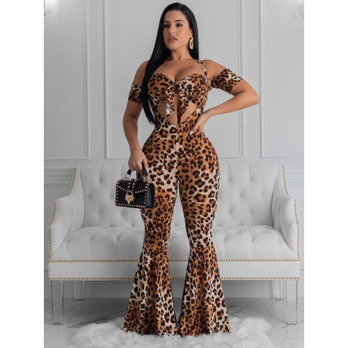 Leopard Print Cropped Top With Flare Suspender Pants