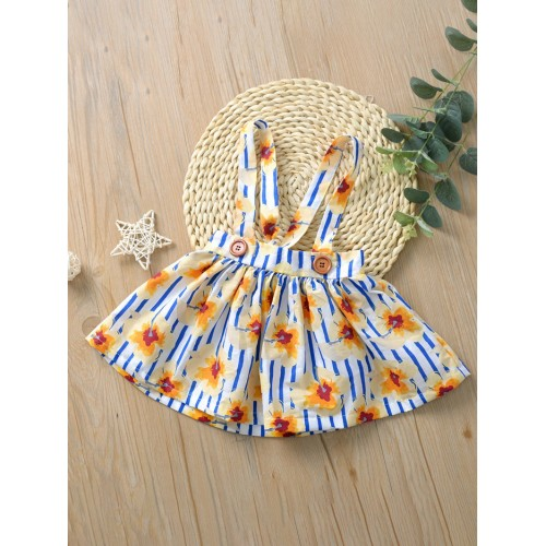 Hot Sale Striped Floral Suspender Skirt For Girls