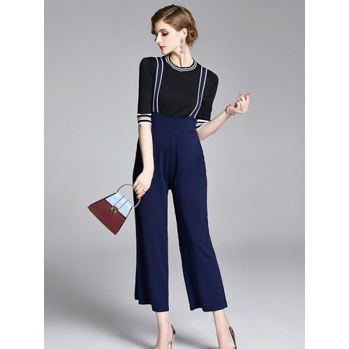 Knitted Stripe Top With Wide Leg Suspender Trousers