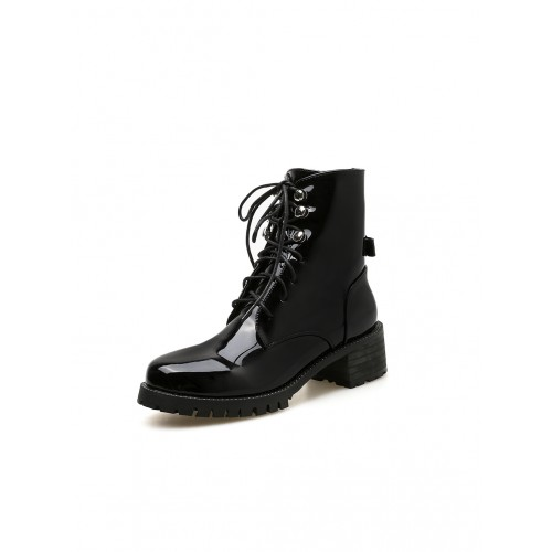 Fashion Patent Leather Black Ankle Boots For Women
