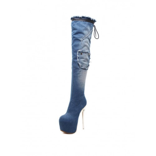 Platforms Super Heel Denim Knee High Boots