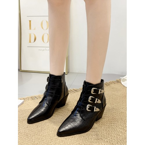 Embossed Three Buckle Straps Winter Boots