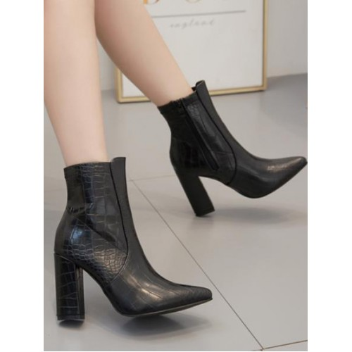 Pointed Crocodile Embossed Black Boots