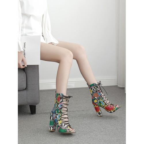 Peep Toe Bandage Hollow Snakeskin Boots