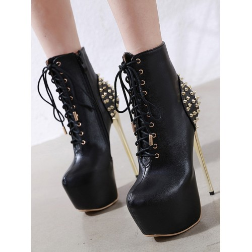 Bandage Rivet Decor Stiletto Platform Boots