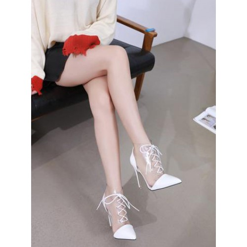 Patchwork Transparent Bandage Womens Boots