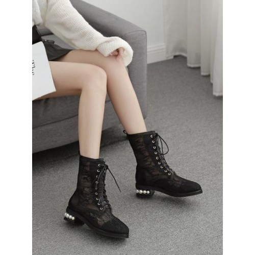 Lace Patchwork Faux Pearls Heels Chic Lace Up Boots