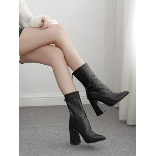 Embossed Black Chunky Mid Calf Boots