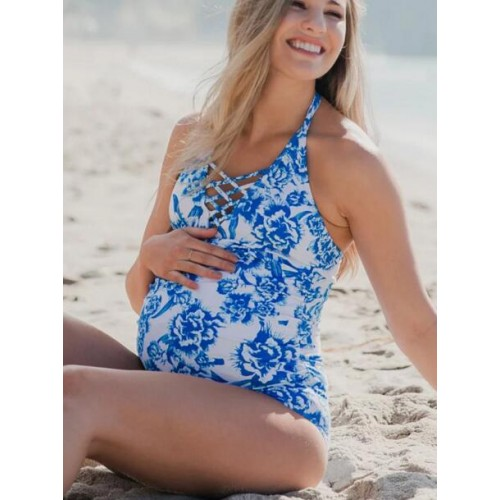 Maternity Front Cross Belt Printed Bathing Suits