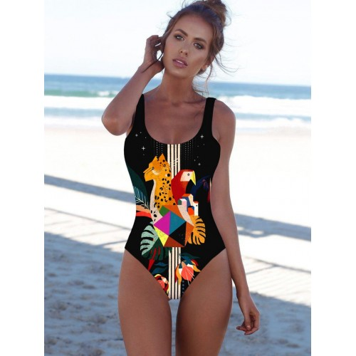 Cartoon Printed Color Block One Piece Bathing Suits