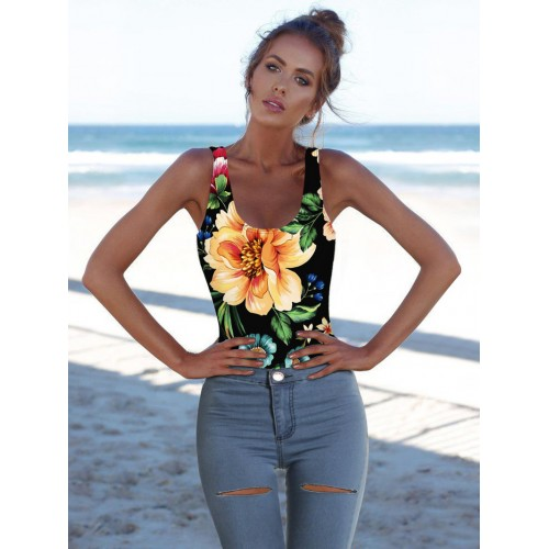 Flower Printed Backless Sleeveless Bathing Suits