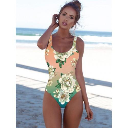 Gradient Color Flowers One Piece Bathing Suits
