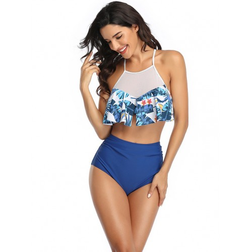 Gauze Patchwork High Waist Print Bathing Suits