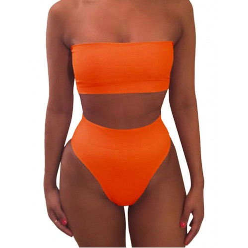 Simple Style Solid Strapless 2 Piece Bathing Suits